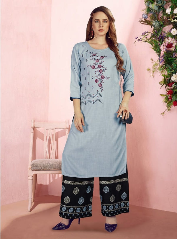 Light Blue Sequence Foil Print kurti palazoo