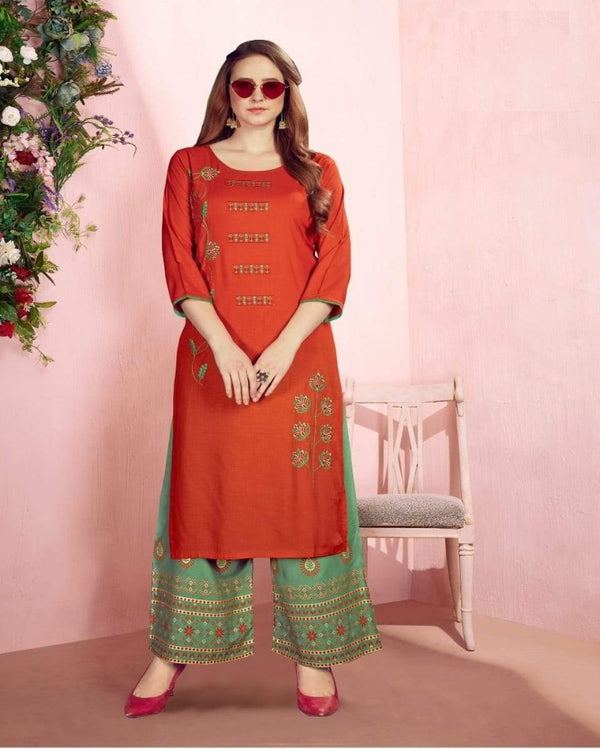 Demy orange Sequence Foil Print kurti palazoo