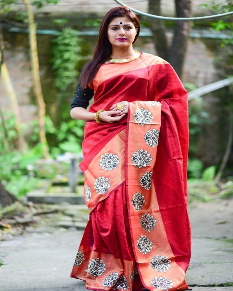 Red embroidery butta silk saree
