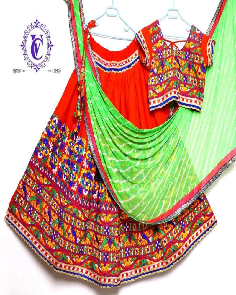 Red Navratri Mirror Embroidery Lehenga