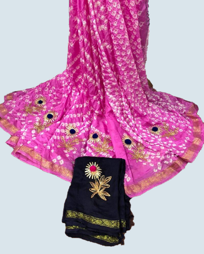 Pink Art Bandhej Saree