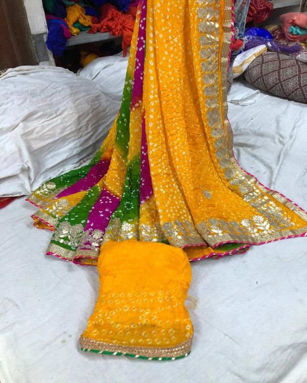 Yellow Multi Silk Bandhej Saree