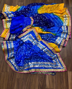 Wine Blue Multi Silk Bandhej Saree
