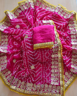 Hot Pink Silk Bandhej Saree