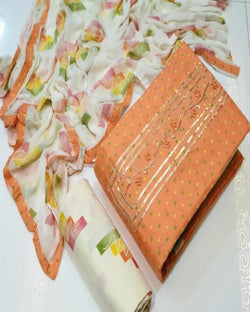 Orange Cotton Printed Dressmaterial
