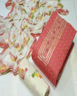 Pink Cotton Printed Dressmaterial
