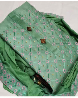 Green Embroidery Dressmaterial