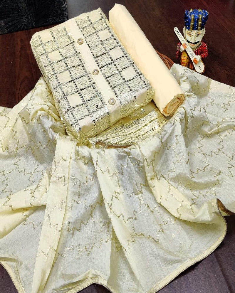 Cream Soft Chanderi Dressmaterial