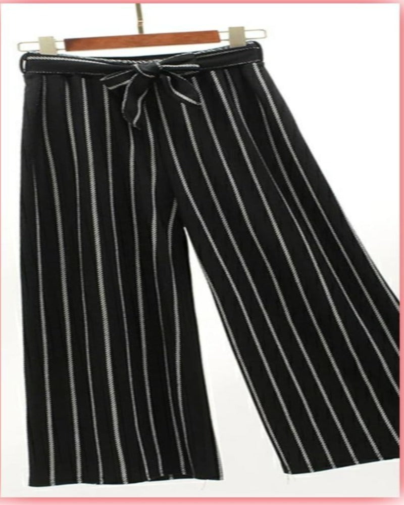 Black strips Knoted Culotte Palazoo