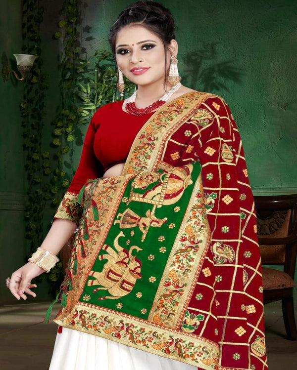 Red Designer Partywear Saree