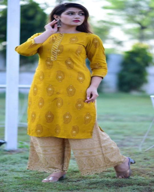Yellow Kurti With Chikan Palazoo Set