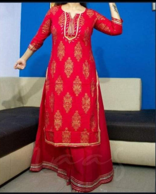 Red Sharara Festive Suitset