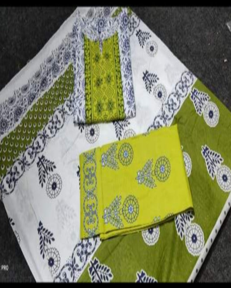 Summer Cotton Green Print Suitset