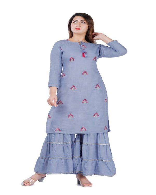Casually Indigo Kurti With Sharara
