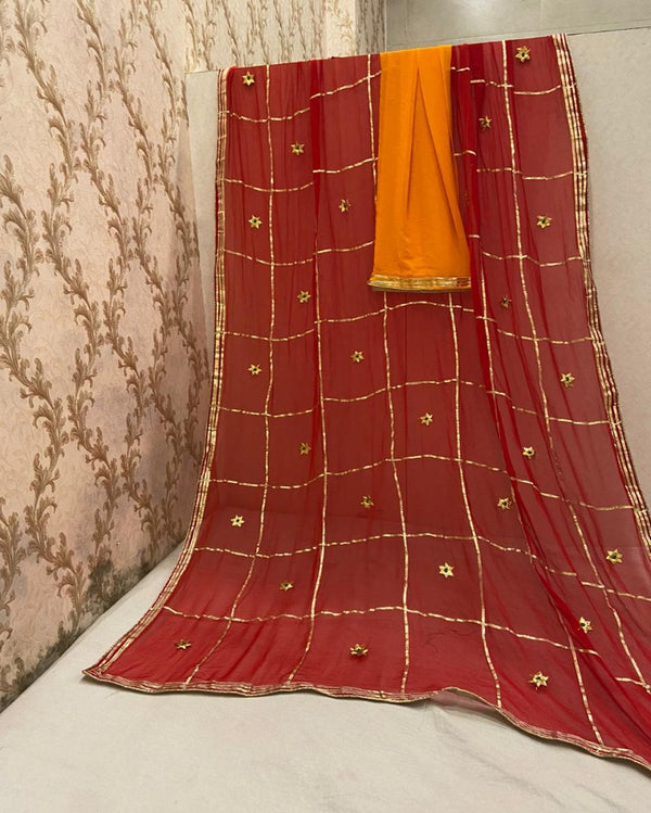 Red Jaipuri Gotta Saree