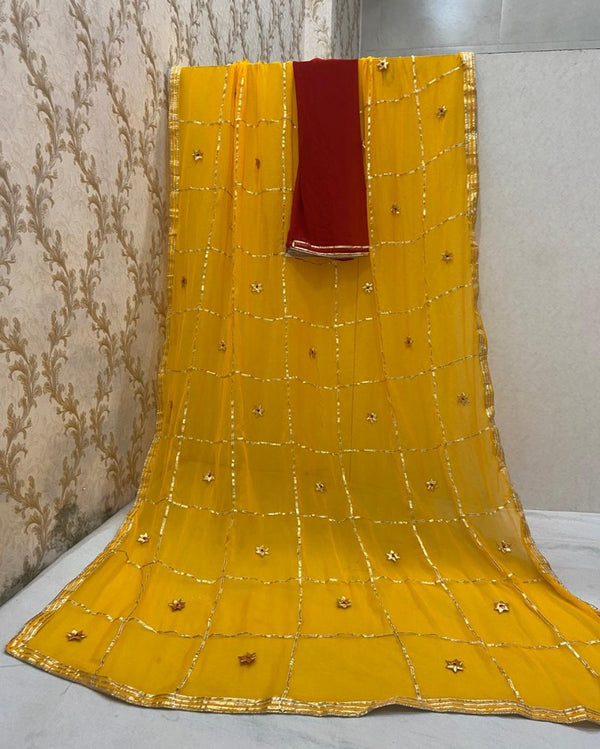 Yellow Jaipuri Gotta Saree