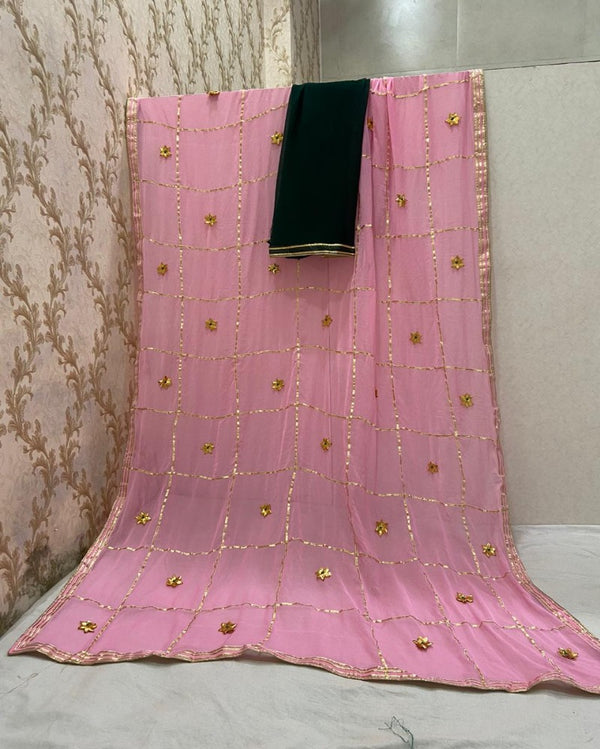 Onion Pink Jaipuri Gotta Saree