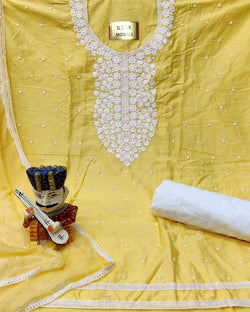 Chicken Embroidery Yellow Dressmaterial