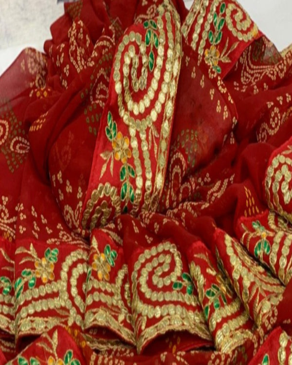 Red Festive Gotta Saree
