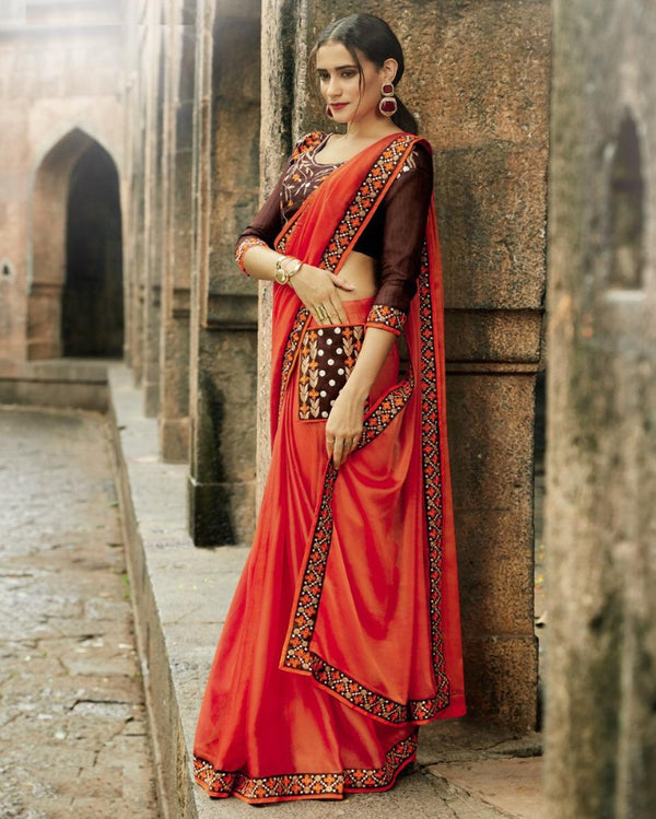 Royal Pocket Partywear Orange Saree