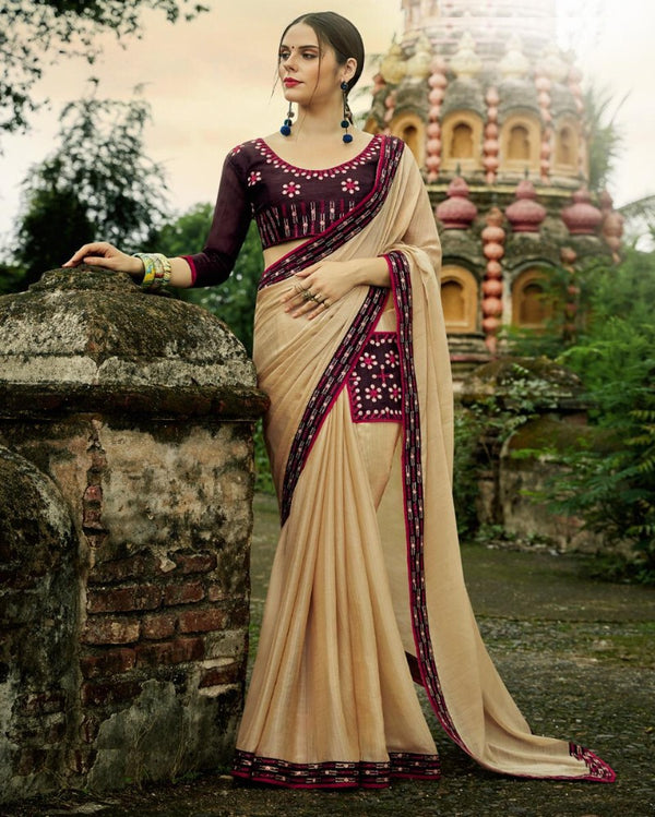 Royal Pocket Partywear Cream Saree