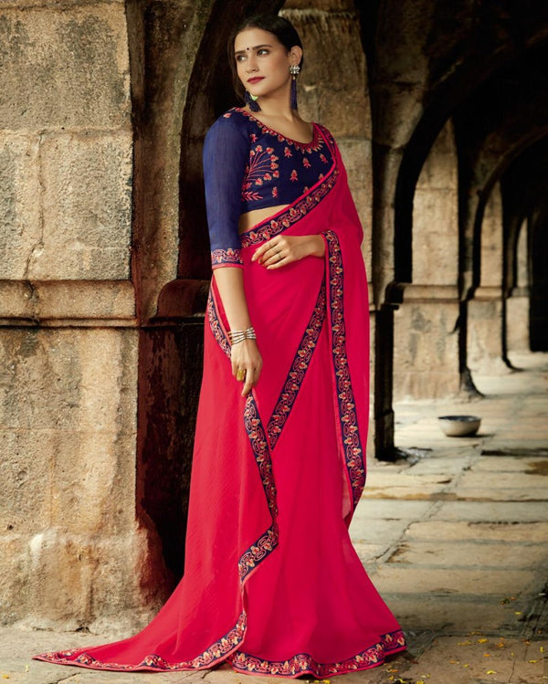 Royal Pocket Partywear Pink Saree