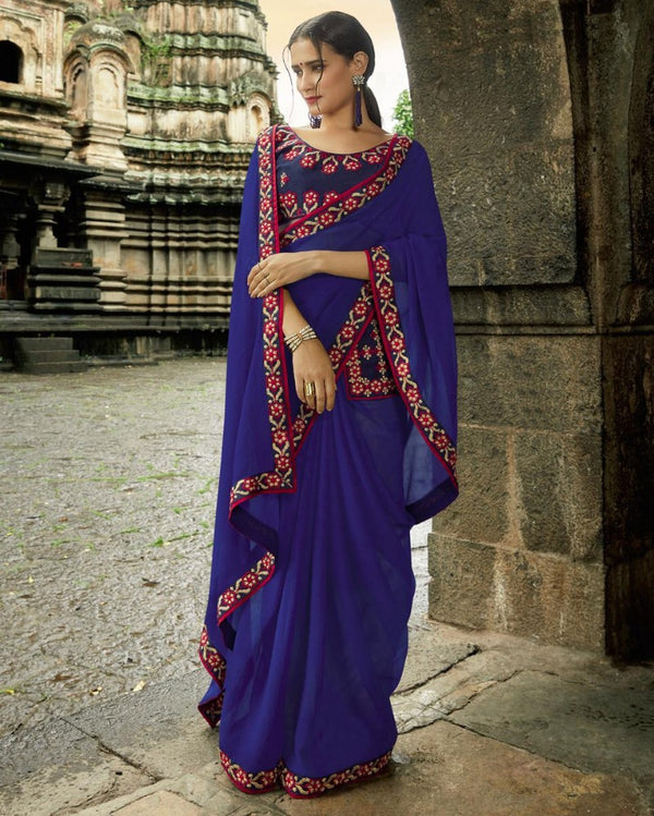 Royal Pocket Partywear Blue Saree