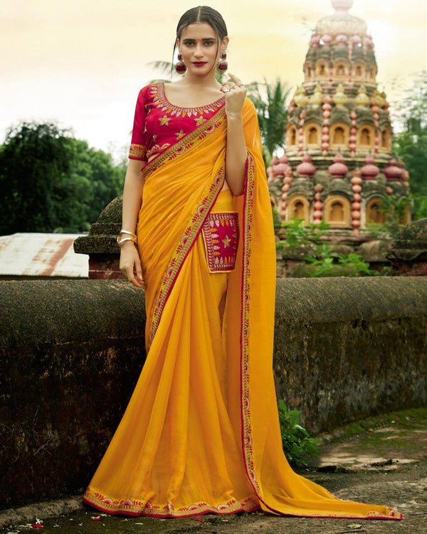 Royal Pocket Partywear Haldi Saree