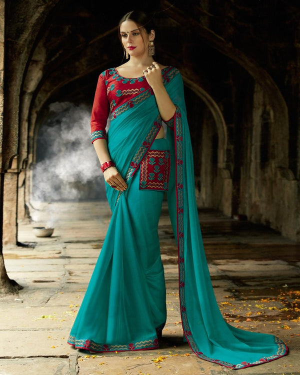 Royal Pocket Partywear Ocean Blue Saree