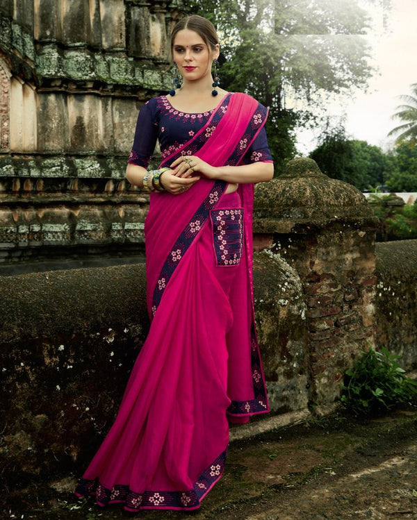 Royal Pocket Partywear Rani Pink Saree