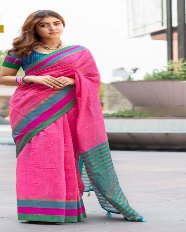 Rose Pink Cotton Tant Saree