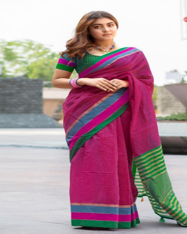 Pink Cotton Tant Saree