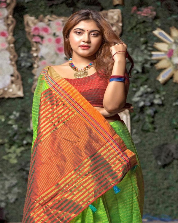 Leaf Green Cotton Tant Saree