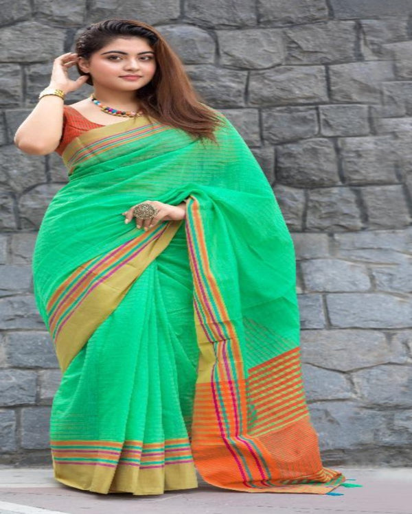 Florecent Green Cotton Tant Saree