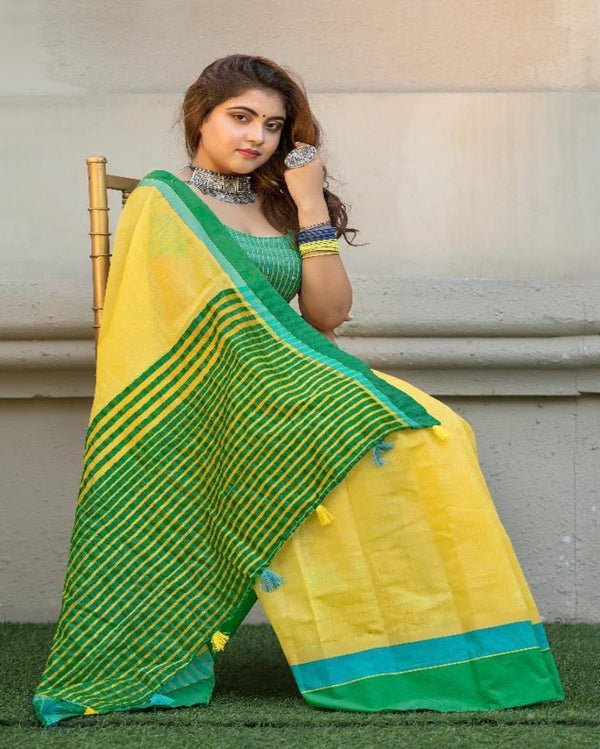 Yellow Cotton Tant Saree