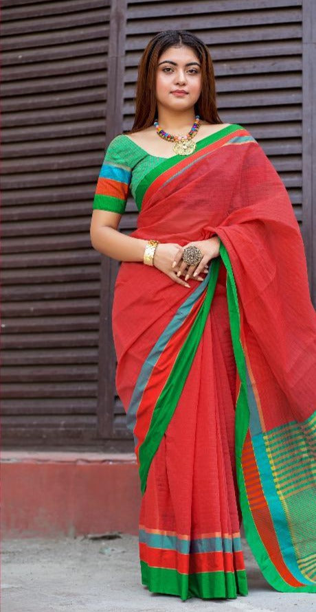 Red Cotton Tant Saree