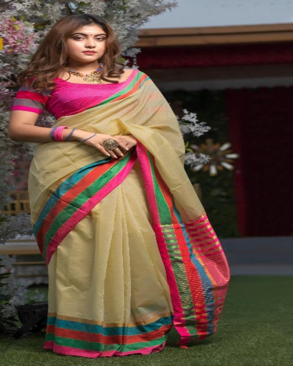 Cream Cotton Tant Saree