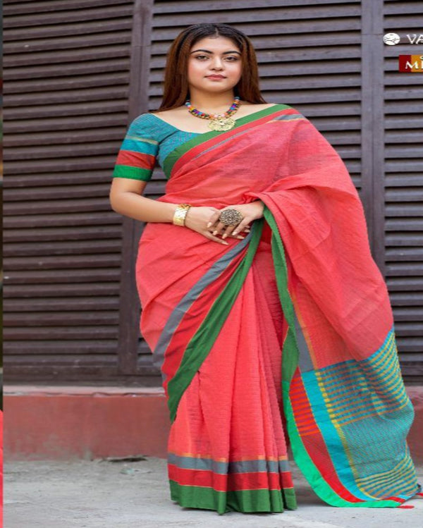 Peach Cotton Tant Saree