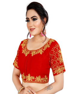 Red Embroidery partywear Blouse