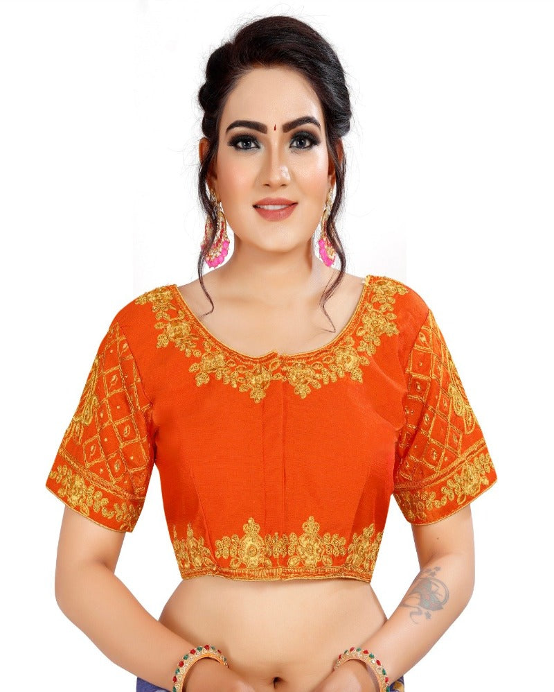 Orange Embroidery partywear Blouse