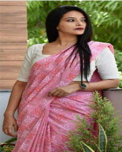 Pink Smooth Digital Print Saree