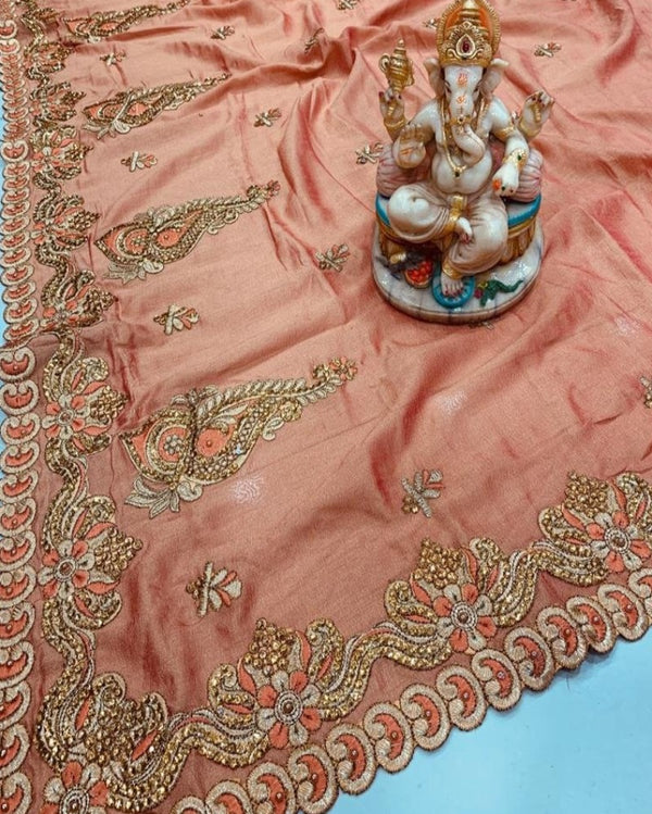Resham Embroidery Orange Silk Saree