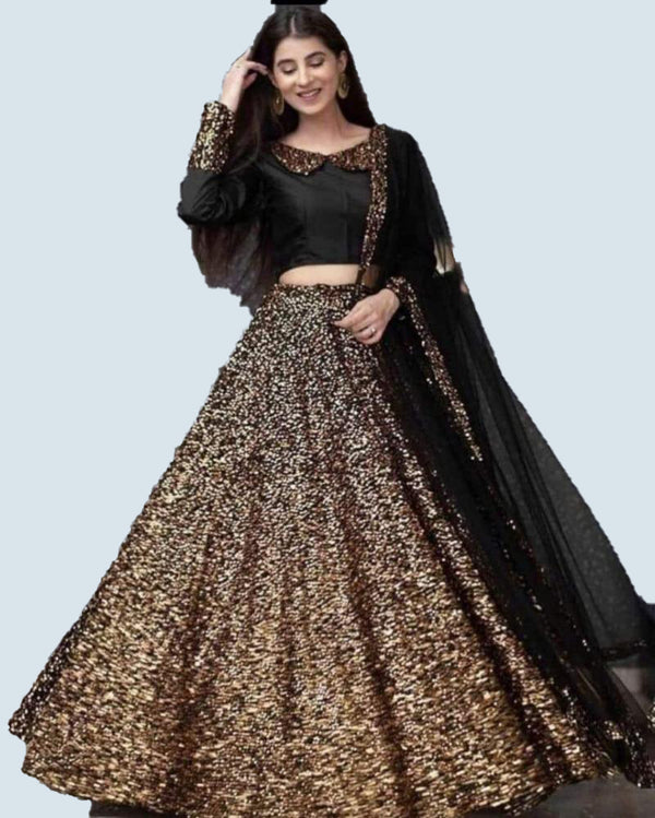 Hot Sequence Black Beauty Lehenga