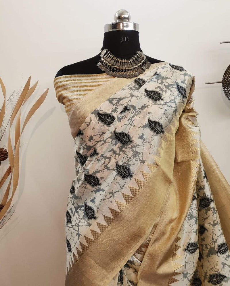 Temple Silk Border Offwhite Saree
