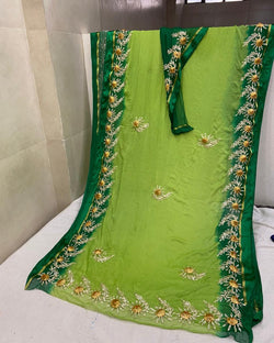 Green Gottapatti Butta Border Saree
