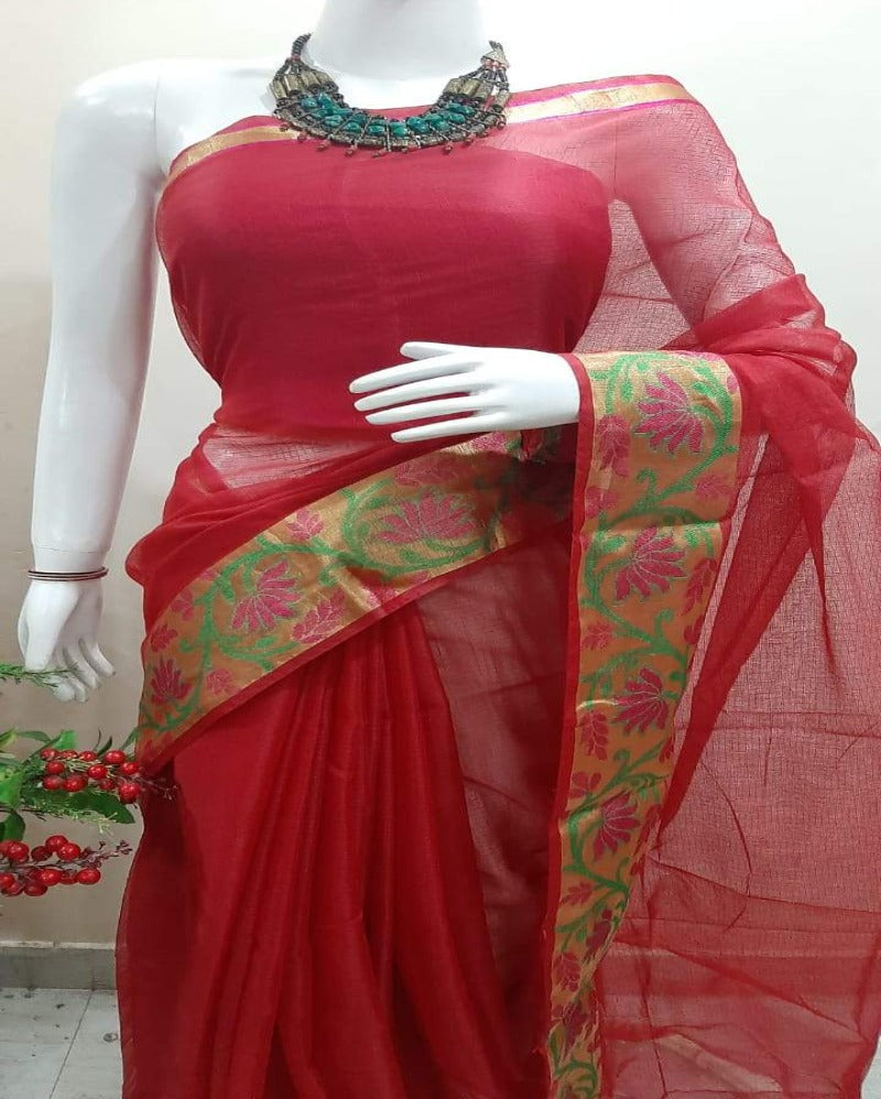 Flower Border Red Kota Saree