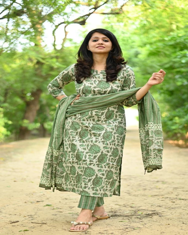 Leaf Kurti Pant With Dupatta