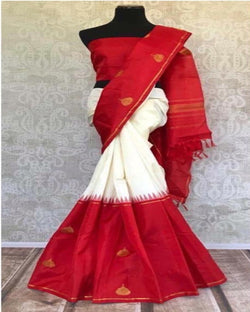Traditional White Linen Saree