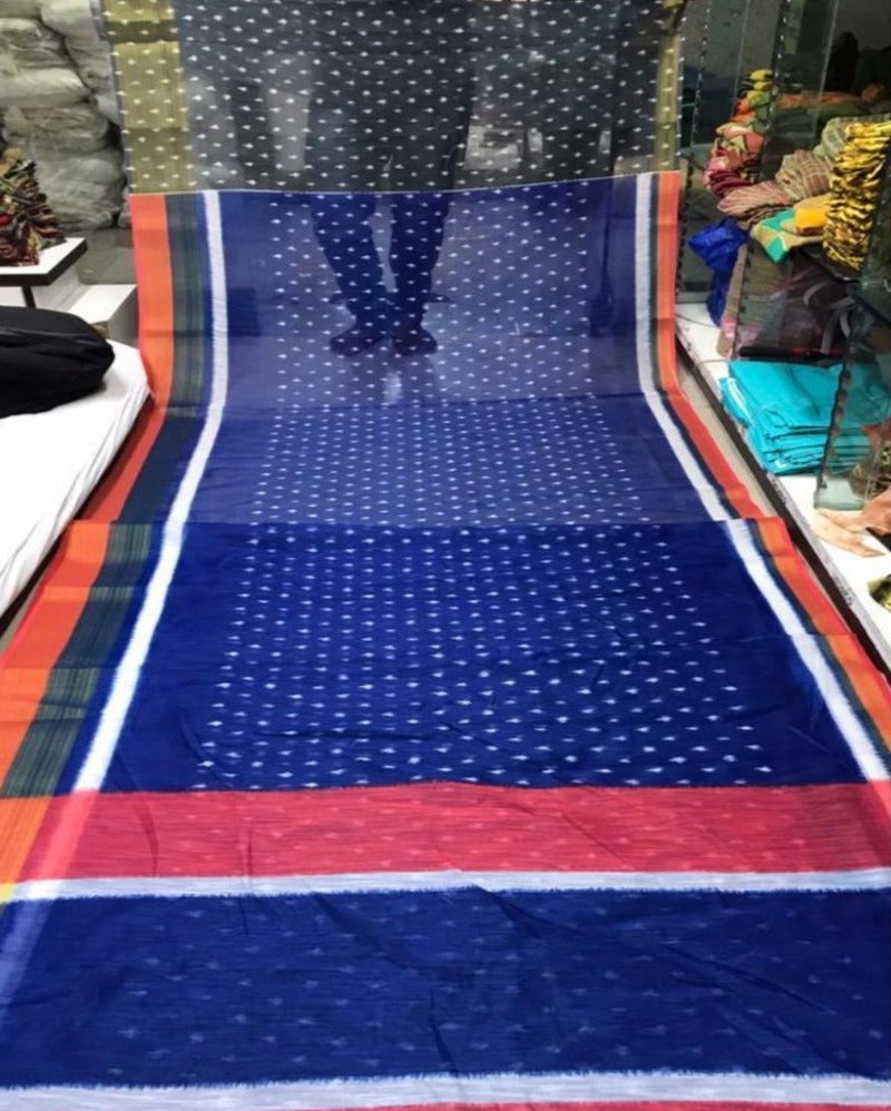 Traditional Blue Linen Saree