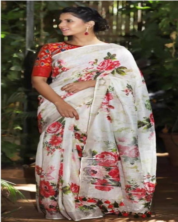 Red Rose Styling Linen Saree